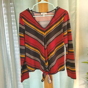 Monteau Tie Up Retro Striped Long Sleeve Top